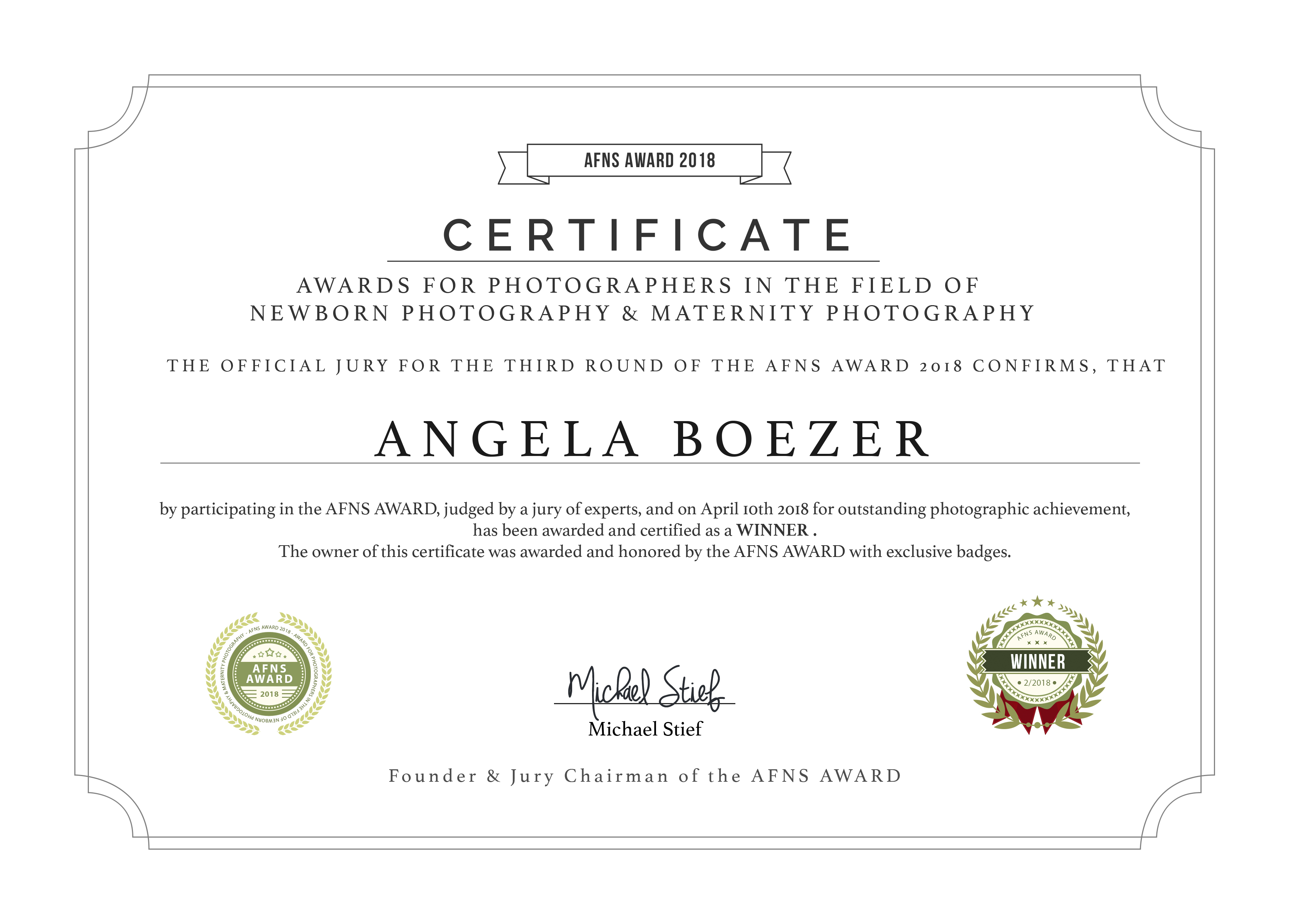 Certificaat, award, prijs, newbornaward, internationaal, fotograaf, newborn, awardwinning, newbornfotograaf, drunen